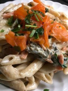 pennette al salmone e gorgonzola